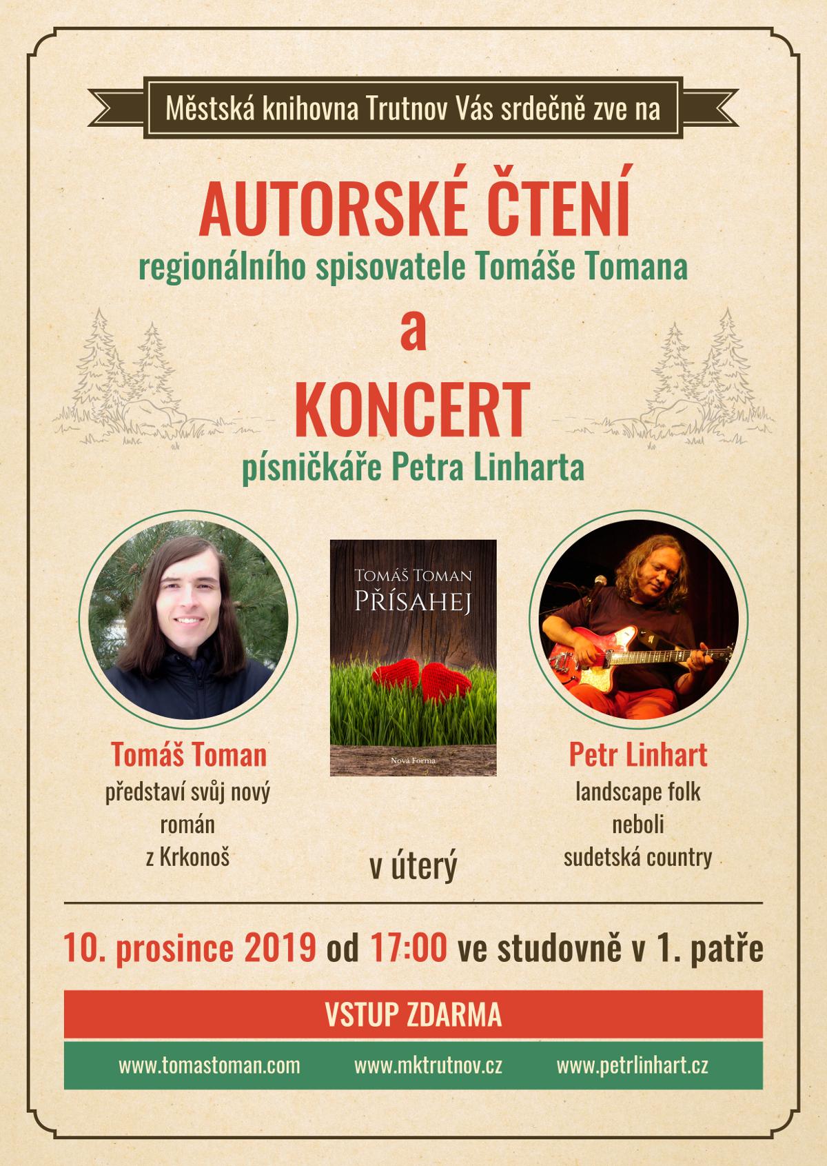 Autorské čtení Tomáše Tomana a koncert Petra Linharta